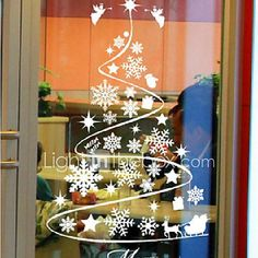 Artificial fir tree as Christmas decoration? A synthetic Christmas Tree or a real one? Lovers of artificial Christmas decorations , such as for example Christmas tree or artificial Advent wreath know Christmas Window Display, Christmas Window Decorations, Christmas Art, Christmas Ornaments, Christmas Windows, Holiday Crafts, Holiday Decor, Theme Noel, Window Stickers