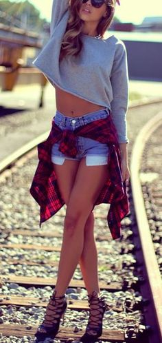 Denim shorts and flannel for fall
