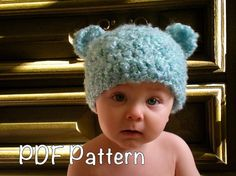 PATTERN  Baby ears hat easy crochet sizes newborn to by swellamy, $4.99