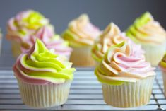 This recipe for homemade rainbow sherbet cupcakes takes the classic raspberry, orange, and lime flavors of sherbet and puts them in cupcake form! Raspberry Sherbert, Lime Sherbert, Rainbow Sherbet, Best Spritz Cookie Recipe, Spritz Cookies, Cupcake Recipes, Cookie Recipes, Cupcake Ideas, Fun Cupcakes