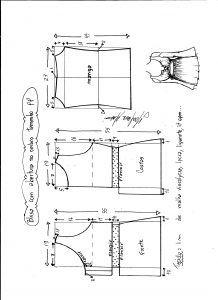 Esquema de modelagem de blusa com abertura no ombro para malha tamanho PP.