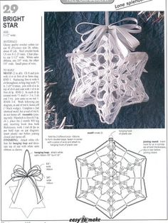 Star Christmas: crochet ornaments - with diagram by Jeroen En Franciska JonkmanChristmas crafts: crocheted Christmas ball and stars for Christmas tree Crochet Christmas tree ornaments pattern and step by step pictu. Crochet Christmas Decorations, Christmas Tree Pattern, Christmas Crochet Patterns, Crochet Christmas Ornaments, Crochet Decoration, Christmas Crafts, Crochet Angels, Crochet Stars, Crochet Snowflakes