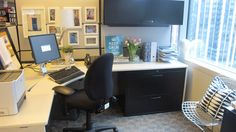 Cubicle Makeover...clean and professional yet definitely fun!