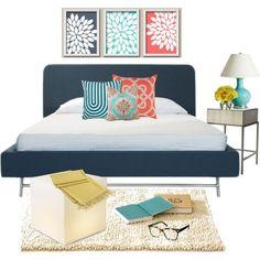 navy and coral bedroom | Coral, aqua and navy bedroom decor | Designalicious