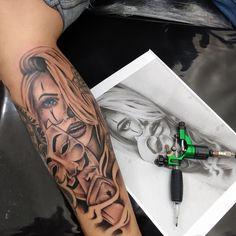 Arm Sleeve Tattoos For Women, Full Leg Tattoos, Face Tattoos For Women, Lion Tattoo Sleeves, Arm Tattoos For Guys, Skull Girl Tattoo, Girl Face Tattoo, Clown Tattoo, Girl Tattoos