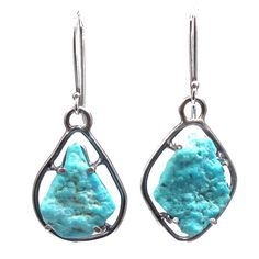 Single Stone French Wire Earrings (Rough Turquoise)
