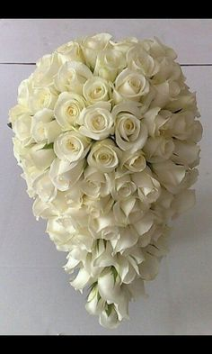 Tear drop full white rose bouquet Add crystal