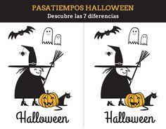 Dibujos para Colorear: Las 7 diferencias de Halloween para imprimir Manualidades Halloween, Imprimibles Halloween, Halloween Activities, Printables, Crafts, Bell Ringers, Spanish, Comic Books, Cupcakes