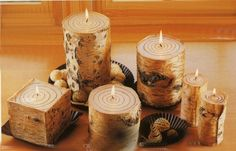 Rustic Lighting Rustic Birch candles Log cabin lighting Cabin decor