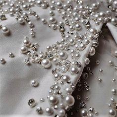 Trims Crafts Adaptable Hand Beaded Prom Dress Border 1 Yd Trim Black Craft Lace Pearl Beads Rhinestones Last Style