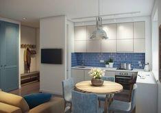 В дизайне двухкомнатной квартиры 52 кв. м. кухню и гостиную соединили в едином пространстве. Спальню дополнили небольшим рабочим уголком, а небольшую детскую спланировали таким образом, чтобы в ней было удобно сразу двум малышам.