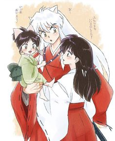 【★】~ Artist's website Love how Moroha's holding on to Inuyasha's hair and the kotodama beads.