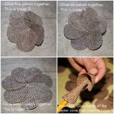 DIY Burlap Roses Before crafting the roses, we need to stabilize the burlap to avoid fraying. To do this, we just mix white glue and . Burlap Flower Bouquets, Burlap Flower Wreaths, Burlap Flowers, Diy Flowers, Fabric Flowers, Sunflower Wreaths, Burlap Ribbon Crafts, Burlap Fabric, Fabric Crafts