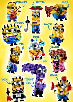 Well, my computer is fixed now, so... Have some minions I made with HAMA perler beads! All of the minions in the picture have had a role in the Despicable Me movies and/ or Minions shorts ( no back...