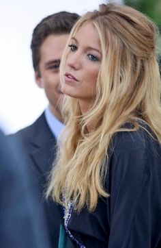 Blake Lively with half-up, wavy hair.