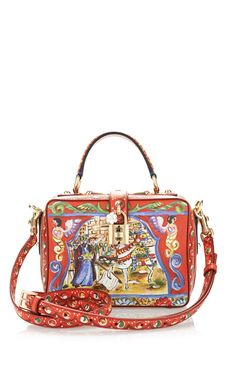 Sicily Painted Print Leather Shoulder Bag by Dolce & Gabbana for Preorder on Moda Operandi