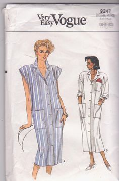 1980s vintage sewing pattern for modest button chemise dress by beththebooklady, $7.99
