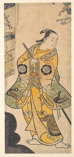 Actor as a Samurai Youth  Torii Kiyotada  (Japanese, fl. ca. 1720–50)  Period: Edo period (1615–1868) Date: ca. 1735 Culture: Japan Medium: Polychrome woodblock print; ink and color on paper (Urushi-e)