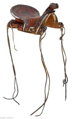 Rare Antique islamic Turkoman Painted Wooden horse Saddle orient pferde Sattel B