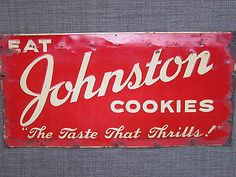 VINTAGE 1940's JOHNSTON COOKIES EMBOSSED METAL TIN ADVERTISING ART SIGN