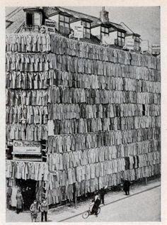 Date unknown Overstocked with a large supply of men's spring and winter coats, a clothier in Copenhagen, Denmark, adopted a unique sales scheme. He erected a scaffolding around his store building and completely covered it from roof to sidewalk with...