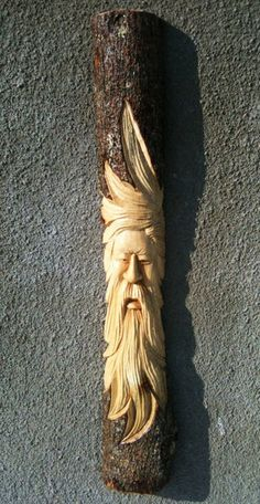 wood spirit - nice movement in hair and beard Wood Carving Faces, Wood Carving Patterns, Wood Carving Art, Carving Designs, Wood Carvings, Hand Carved Walking Sticks, Wooden Walking Sticks, Chip Carving, Tree Carving