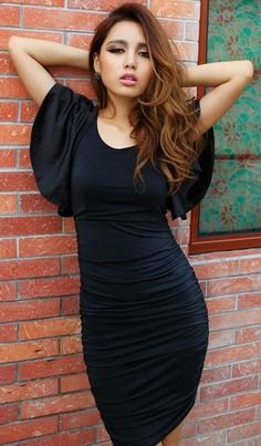 Morpheus Boutique  - Black Ruffle Sleeve Backless Zipper Back Ruched Banded Dress,