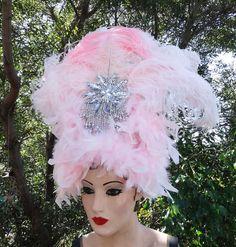 Showgirl Feather Headdress, Viva Las Vegas, Halloween Costume, Burlesque, Pink, SIlver, Ostrich, Batcakes Couture by Batcakes Couture | Batcakes Couture