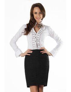 Zega Store - Camasa Tiffani Limited Edition, culoarea alba - Femei, Camasi Simple Shirts, Women's Shirts, Blazer, Stylish, Skirts, T Shirt, Jackets, Fashion Trends, Skirt