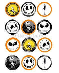 Jack Skellington Nightmare Before Christmas Digital 2-inch & 1-inch Circle Printable Cupcake Toppers Bottle Cap Stickers Clipart  Sheet