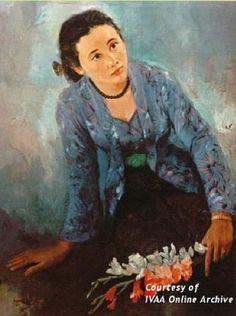 Trubus Soedarsono – Portrait of Mrs T – 1955 – oil on canvas – 86 x 65 cm - President Sukarno Collection