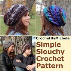 Super Easy PDF Download  Crochet Hat PATTERN  Simple Crochet Slouchy Beanie Adult Hat Pattern