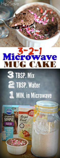 3-2-1 Microwave Mug Cake Recipe. Looking to make a fast and easy dessert check out this microwavable recipe. Just make sure you don't tell the kids or else they're just going to make it all the time. Visit us at Hip2Save.com for more recipes, craft ideas, and ways to save.