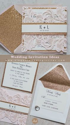 Elegant blush pink laser cut wedding invitation with rose gold glitter belly band EWWS146