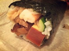 """Japanese food """"Rolled sushi"""" February 3 Japanese eat rolled sushi. Japanese ppl pray traditional end of winter for health of one year and eat rolled sushi. We called it """"a lucky roll"""":)"""