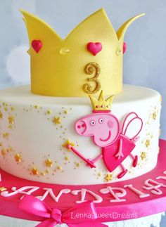 Planning a Peppa Pig Birthday? Check out these 16 Peppa Pig Birthday Party Ideas including inspiration for birthday cakes, Tortas Peppa Pig, Bolo Da Peppa Pig, Peppa Pig Birthday Cake, Peppa Pig Cakes, Princess Peppa Pig Party, Decors Pate A Sucre, First Birthdays, Cupcake Cakes, Cake Decorating