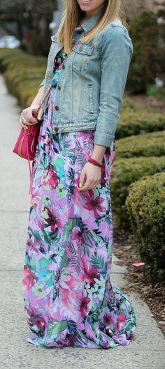 Floral Maxi + Denim Jacket