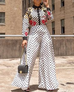 2019 Summer New Wide Leg Pants Women Fashion Polka Dot High Waist Pants Casual Loose Long Trousers Pool Party Outfits, Hoodie Sweatshirts, Latest Fashion For Women, Womens Fashion, Pants For Women, Clothes For Women, Jumper, Printed Jumpsuit, Textiles