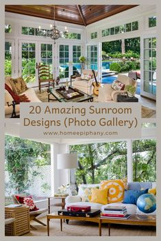 It doesn't get much better than a sunroom. Here are 20 stunning design ideas for your sun room! Home Epiphany, Home Studio Setup, Home Bar Designs, Blue Color Schemes, Family Room Design, Sunrooms, Window Design, Other Rooms, Bars For Home