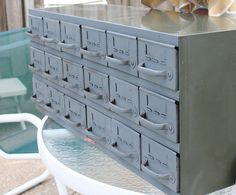 Vintage Equipto Industrial Gray Army Green Enameled Metal 18 Drawer Storage Cabinet Tool Chest. $375.00, via Etsy.
