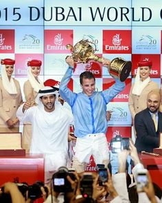 R William Buick And Hamdan Bin Mohammed Rashid Al Maktoum Crown Prince Of Dubai Celebrate Winning The World Cup On Bishop At Meydan