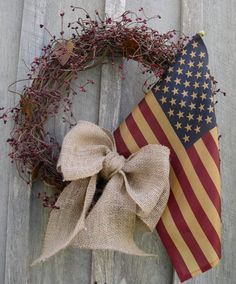 Americana Wreath, Patriotic, Fourth of July Wreath, Rustic, Primitive,Tea Stained Flag Wreath