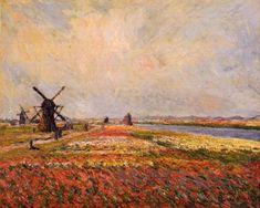 Fields of Flowers and Windmills near Leiden, 1886 Claude Monet