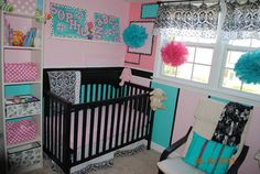 turquoise and pink baby girl nursery room with colored crib bedding and black and white window valances. It's Bright- but I LOVE IT