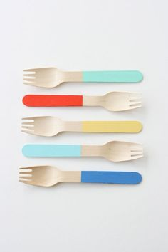Product design : color wooden forks ,unknown designer