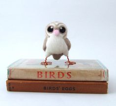 Needle Felted Owl Baby Miniature Barn Owl by feltmeupdesigns, £18.00