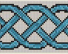 Cross Stitch Celtic Weave Pattern Bookmark Band Craft Irish Symbol PDF Download Blue