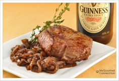 Guinness-Thyme Marinated Lamb w/ Red Onion Compote: Try a marinade of Guinness Extra Stout combined with thyme, garlic and hint of dijon for delicious grilled lamb.