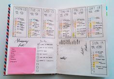 bullet journal weekly layout with timeline