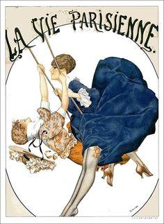 La Vie Parisienne Two Women on Swing Cheri Herouard